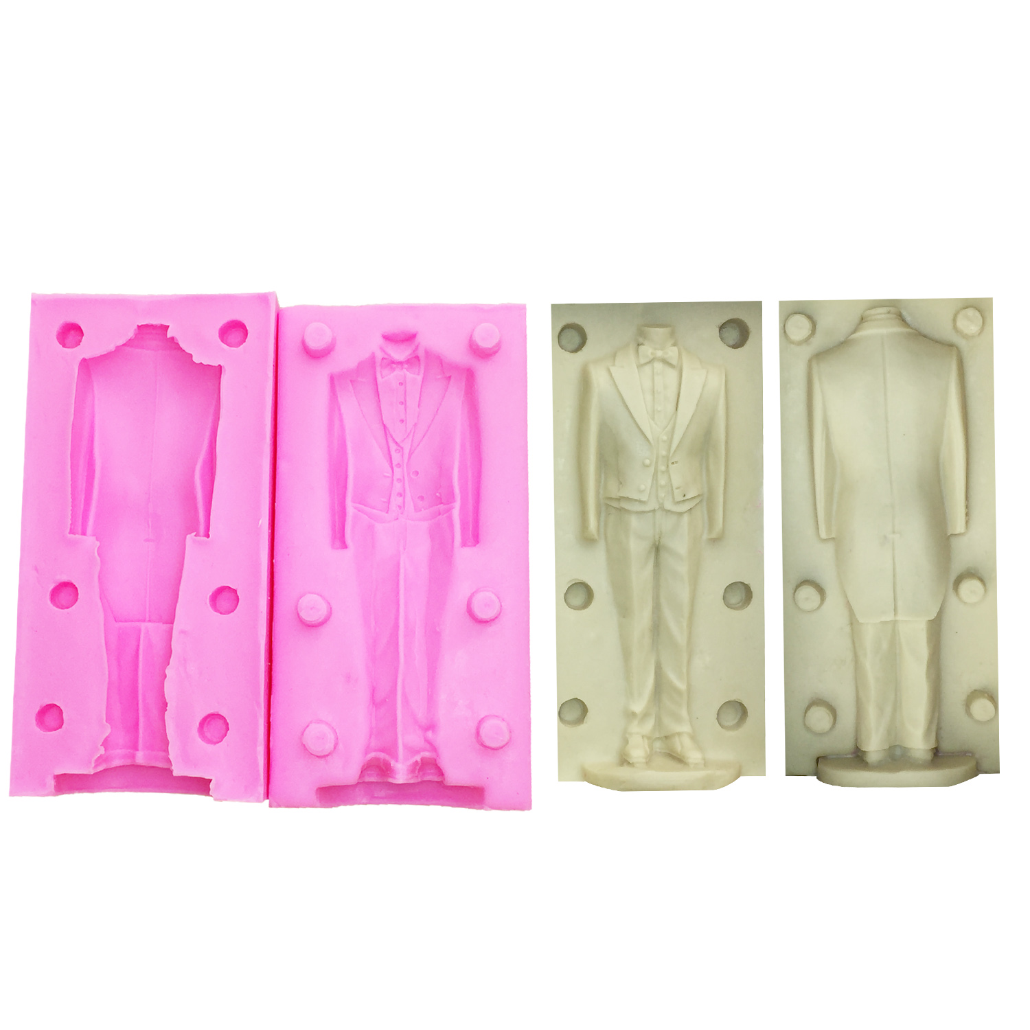 M1122 DIY men body mold human clay mold silicone mold Ruantao Wedding Suit Candle Silicone molds