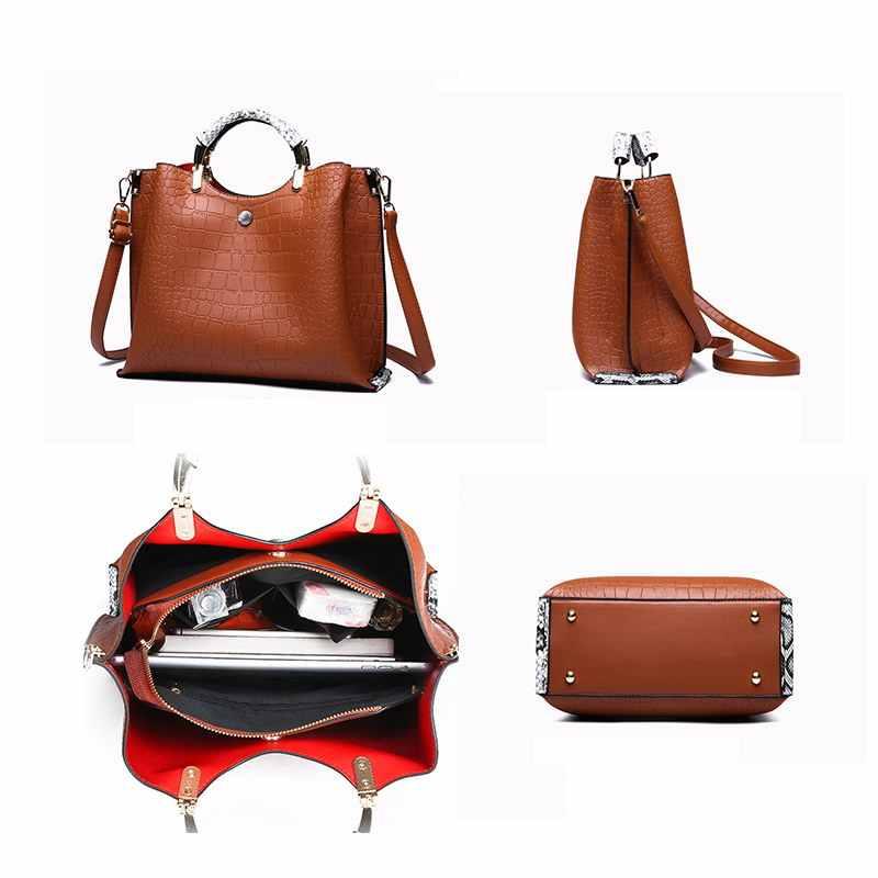 Gradosoo высокое качество крокодиловый узор дамская сумка женская большая емкость Змеиная дизайнерская сумка LBF414