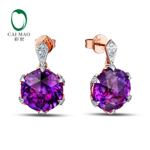 8.3ct Amethyst 10KT/417 Gold 0.12ct Round Cut Diamond Engagement Gemstone Earring Jewelry