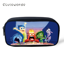 ELVISWORDS Kids Fashion Pen Bags Inside Out Prints Pattern Students Stationery School Supplies Pencil Box Cartoon Beautician