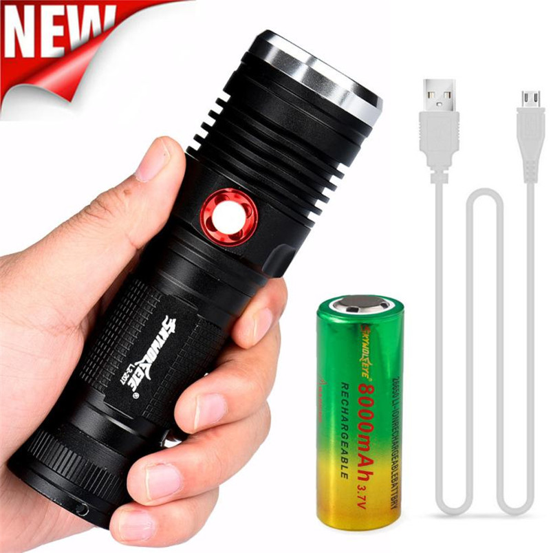 1 Set 8000LM ZOOM CREE XM-L2 U2 LED 3 Mode USB Rechargeable Flashlight Torch 26650 Battery 18650 wholesales NOM18 950lm 3 mode white bicycle headlamp w cree xm l t6 black silver 2 x 18650
