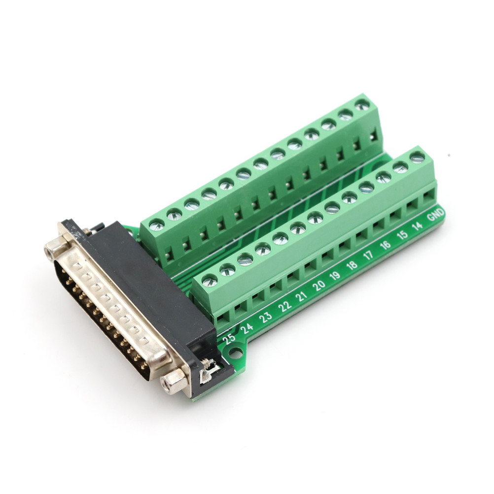 1PCS <font><b>DB25</b></font> Male 25Pin Plug Breakout <font><b>PCB</b></font> Board 2 Row Terminals Connectors image