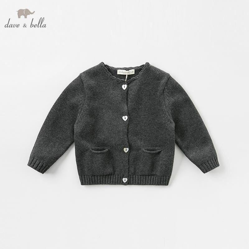 DB8681-1 dave bella automne infantile bébé filles de mode cardigan enfants en bas âge manteau enfants boutique tricoté chandail