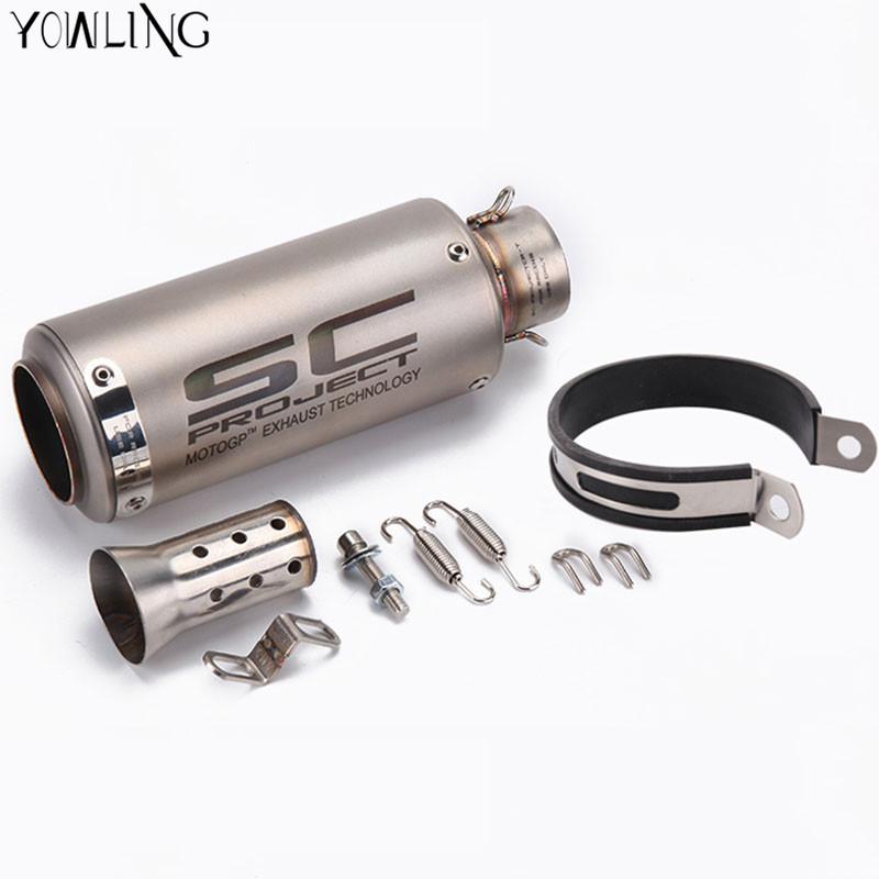Laser SC New Motorcycle Exhaust Pipe Scooter Modified 51mm 61mm SC exhaust Muffler pipe For KAWASAKI ER6N BMW S1000RR yamaha data best price car charger bluetooth headphones 4 0 headset earphone multipoint power for lg for samsung for iphone mar13