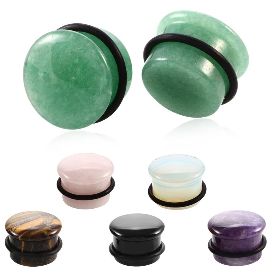 1 Paar Naturstein Ear Plugs Flesh Tunnel Piercing Einzel Flared Weiß Opal Stein Ohr Gauges Expander 6mm-16mm Piercing Schmuck