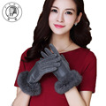 PTAH Women Winter Wrist Rabbit Fur Solid Wool Gloves Ladies Luxury Outdoor Inside Velvet Warmth Casual Soft Mittens Guantes 9856
