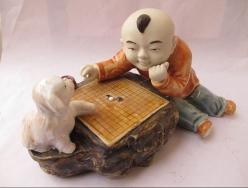 Christmas Antique porcelain ceramic statues chess players and small animal (dog)  Halloween
