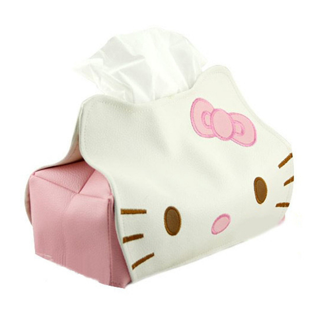 76f25af6f 23CM Hello Kitty Tissue Case Box Container Cartoon Towel Napkin Papers  Holder Storage Box Case Pouch