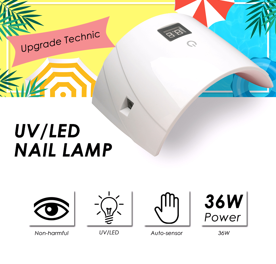 Arte Clavo 36W UV LED Lamp 18 LEDS Gel Nail Lamp Nail Dryer For Nails All Gel Polish Sensor LED Light Nail Art Manicure Tools