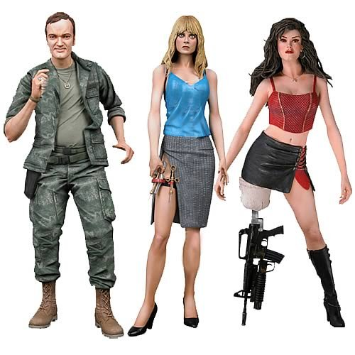 "3pcs Robert Rodriguez <font><b>Planet</b></font> <font><b>Terror</b></font> <font><b>Grindhouse</b></font> Cherry Darling Dr. <font><b>Dakota</b></font> Block Rapist Quentin Tarantino NECA 7"" <font><b>Action</b></font> <font><b>Figure</b></font>"