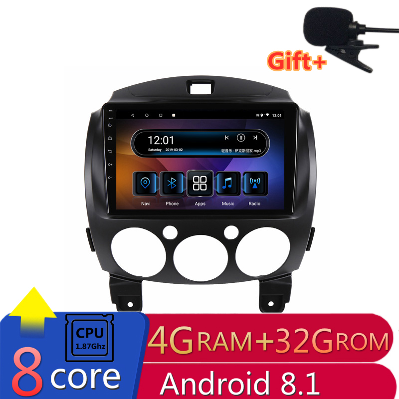 "9"" 4G RAM 8 cores Android Car DVD GPS Navigation for Mazda 2 2007 2008 2009 2010 2011 2012 audio stereo car radio headunit wifi"