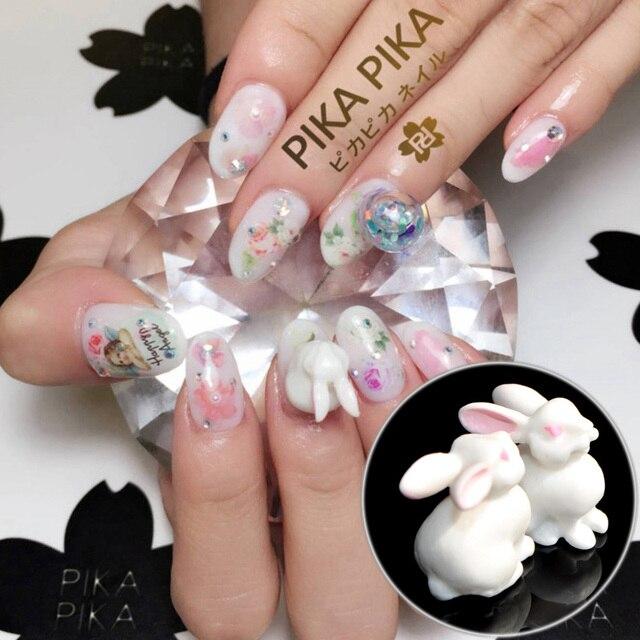 2 Stks Hot In Japan Wit Konijn Nail Art Decoratie Plastics Leuke 3d