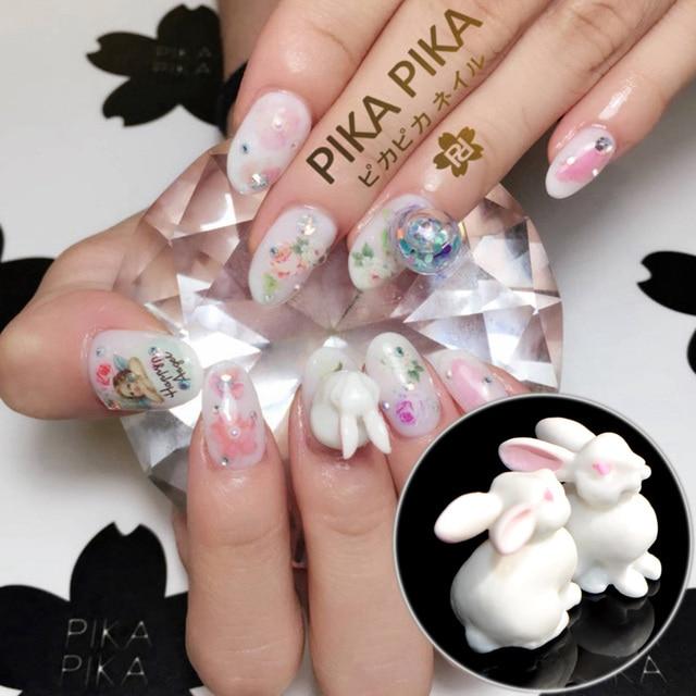 2pcs Hot in Japan White Rabbit Nail Art Decoration Plastics Cute 3D ...