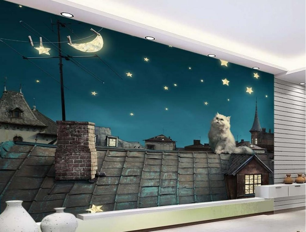 background wallpaper Custom wallpaper for walls 3 d Blue sky under the roof to see the moon wallpapers for living room bedroom blue earth cosmic sky zenith living room ceiling murals 3d wallpaper the living room bedroom study paper 3d wallpaper