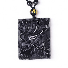 Drop Shipping Natural Black A Obsidian Pendant Necklace Antique Dragon Fine Crystal Jewelry For Woman Men Gifts