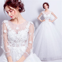 2019 Long Elegant Ball Dress For Wedding Tulle Appliques Round Neck Rhinestones Prom Gowns Open Back princess Lace Bridal Dress