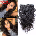 """Clip In Human Hair Extensions 8A Malaysian Virgin Hair Clip 7Pcs 120g Malaysian Body Wave Human Hair Clip In Extensions 10""""-26"""""""