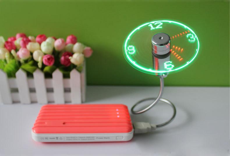 MINI Flexible LED USB Clock Fan Watch 10