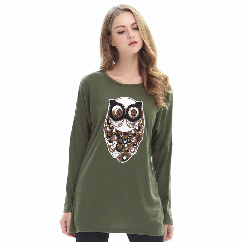 Sales Hot 2018 Women Autumn Loose Oversized T Shirt Round neck long Sleeve Owl Sequin Women's Top One Piece Dropshipping