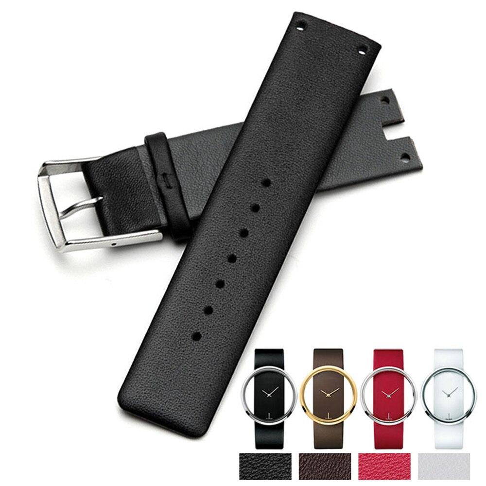 YQ Echtes Leder Uhrenarmband-bügel Schwarz Weiß Rot Braun weichen Haltbaren Uhrenarmbänder Für CK Uhr K94231 K9423107 Frau Mann uhr