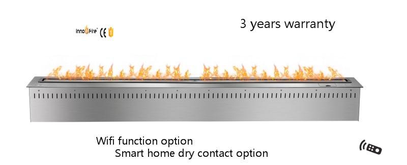 60 Inch Long Silver Or Black Remote Control Intelligent Bio Ethanol Fireplace Burner