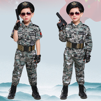 Children's Teenager Boys Girls Special Forces Camouflage Military Uniform Training Tactical Costumes Desert Combat Army Suit