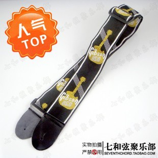 где купить  Yellow background black words 80-138CM wood guitar suspender/electric guitar strap/electric bass brace/suspender  по лучшей цене