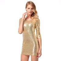 DERUILADY Women Luxury Party Club Wear BodyCon Dress 2018 New Gold Sequins Women Clothing Fashion Sexy