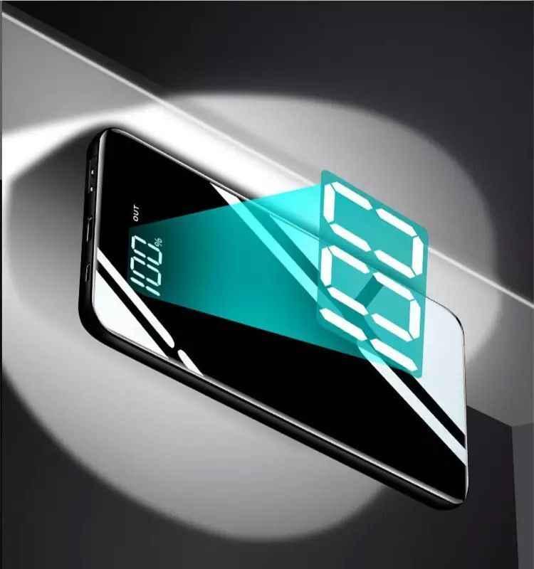 30000 мА/ч tipo-C de espejo de Banco portartil светодиодный de moda de los Telefonos móviles de carga externa paquete Powerbank para iPhone