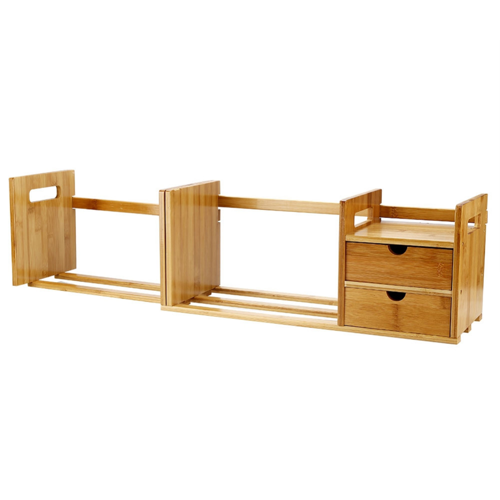 Image 3 - Tabletop Bookcase Bamboo Wood Extendable Desk Tabletop Book Rack Bookshelves Bookcase Organizer with 2 Drawer Tabletop kirjahyll-in Bookcases from Furniture