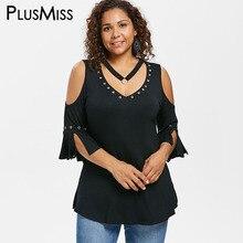 36d21cfa7625bf PlusMiss Plus Size 5XL Cold Shoulder Split Sleeve Sexy Tops Women Large Size  Summer V Neck