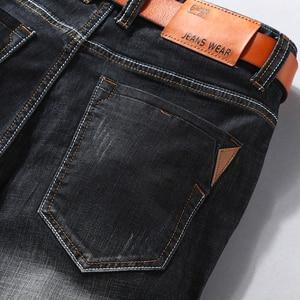 Image 5 - 男性デニムショートパンツ 2020 夏新スタイル薄肉弾性力スリムフィットショートジーンズ男性ブランド衣料黒青