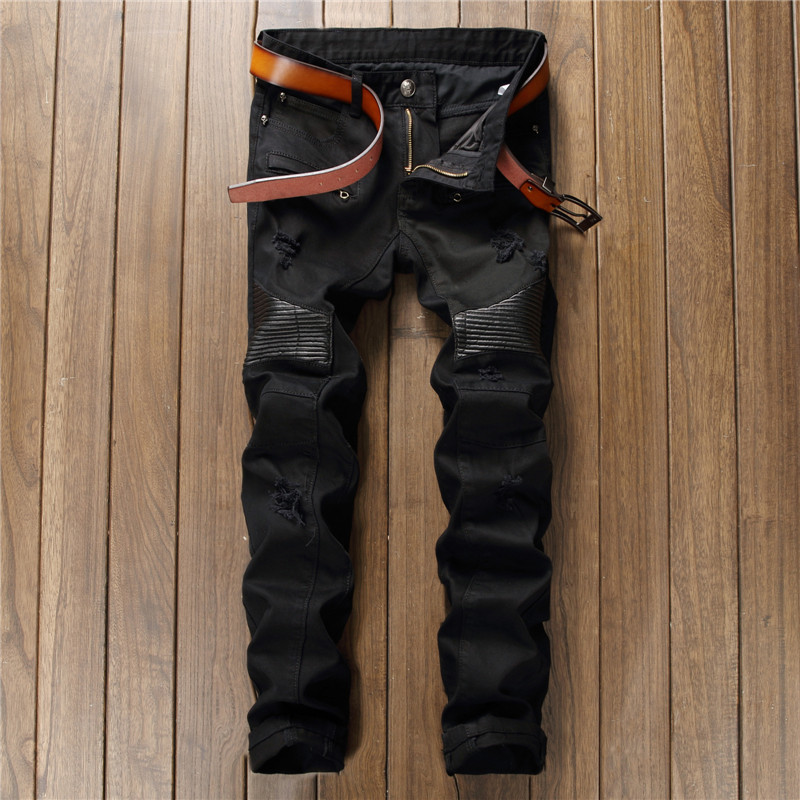Stylish black jeans men patchwork leather zipper hip hop denim pants torn slim straight rock trousers nightclub destroyed jean ...