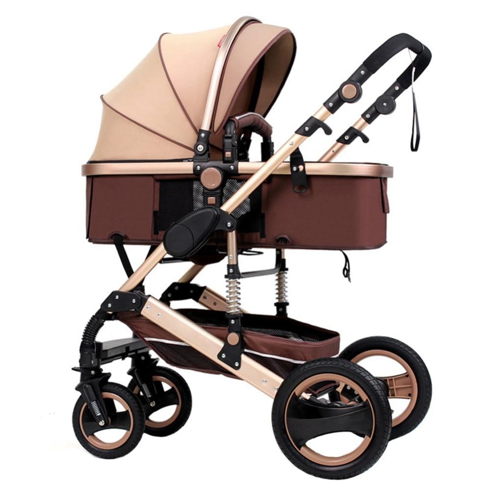 Детская коляска, ультра легкая, складывающаяся, резиновая, четыре колеса, может сидеть, лежа, ударная тележка