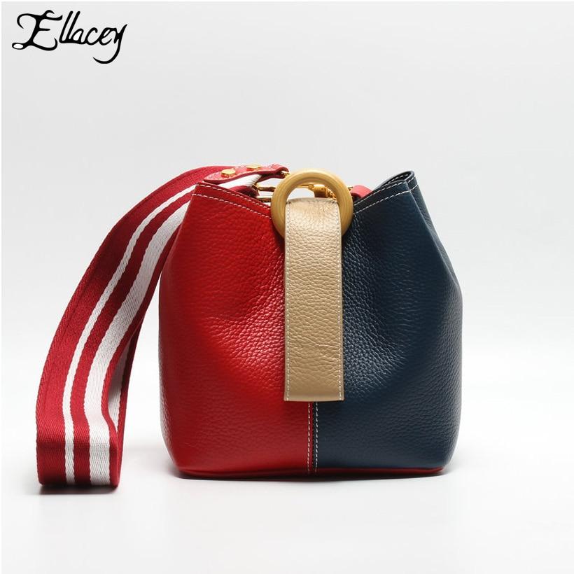 Фотография New 2017 Cow Leather Shoulder Bucket Bag Stylish Panelled Genuine Leather Handbags Women Crossbody Contrast Color Messenger Bags