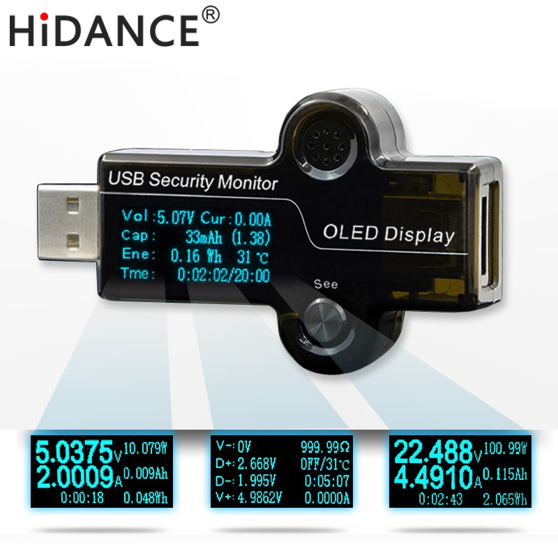 HiDANCE USB OLED safety monitor tester Current Meters Charger ammeter voltmeter battery mobile power supply capacity detection ebc a40l high current battery capacity tester battery line graph battery tester battery testing 20acharge 40a discharge