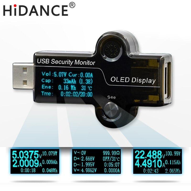 Hidance USB OLED monitor de seguridad probador Medidores de corriente cargador amperímetro voltímetro batería fuente de alimentación móvil capacidad de detección
