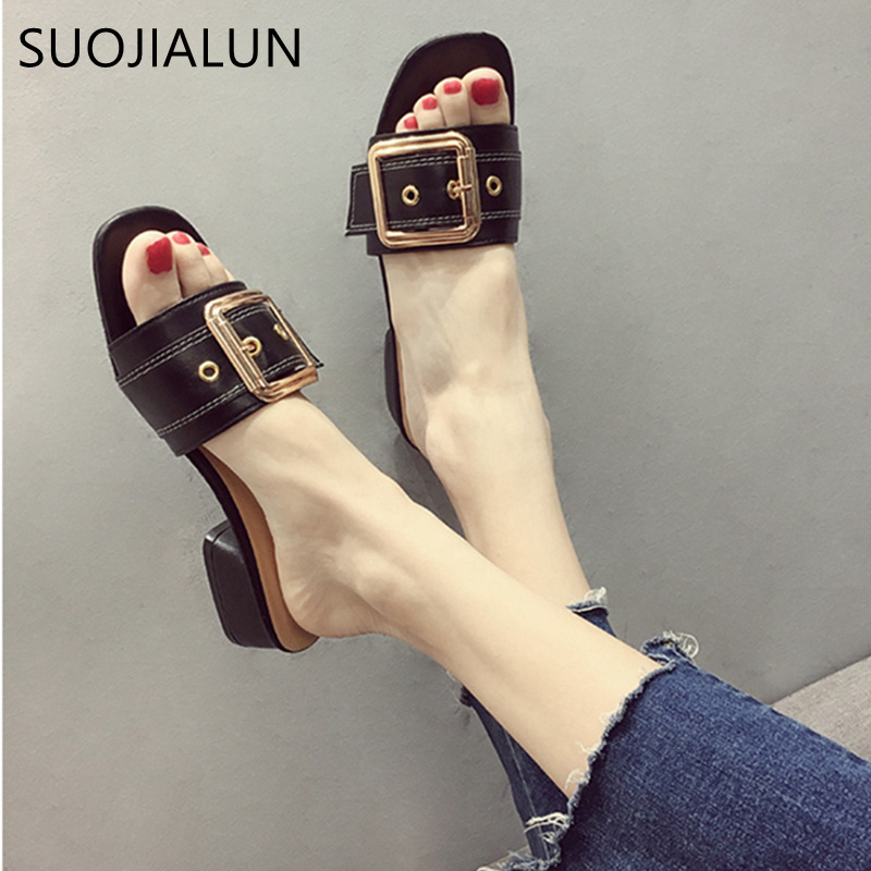 SUOJIALUN Summer 2018 New Slippers Women Fashion Metal Buckle Ladies Shoes Female Sexy Slides Square Heel Sandals Women 2 5cm low heel rhinestones slides women sandals shoes 2016 female slippers hoof heel real photo ladies slides new arrival