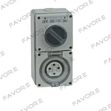 20A three phase 4 round pin combination switch socket 56CV420