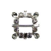 Nuovo 17mm bar argento cristalli Fancy Piazza Fibbia borse abbigliamento scarpe tessuto regalo di nozze ornamento accessorio 12 pcsx spedizione libero