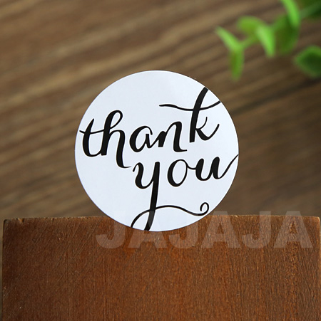 100pcs lot thanks you letter white and black stickers round shape packaging label adhesive sticker