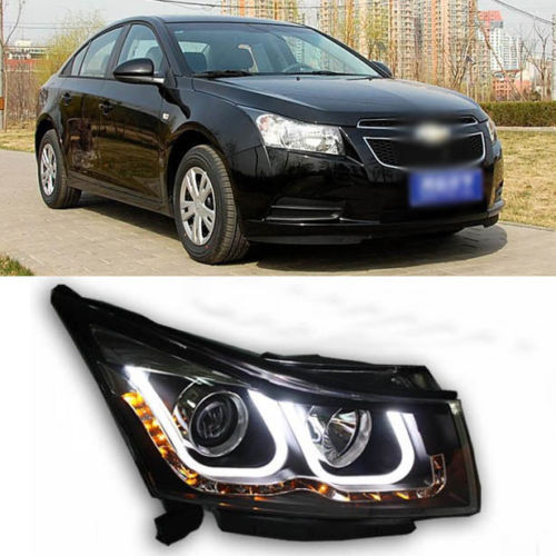 Ownsun 2013 Innovative Double U Angel Eye Projector LED DRL Headlight for Chevy Cruze ownsun superb u shape led headlight angel eye projector lens for vw tiguan 2010 2012 model