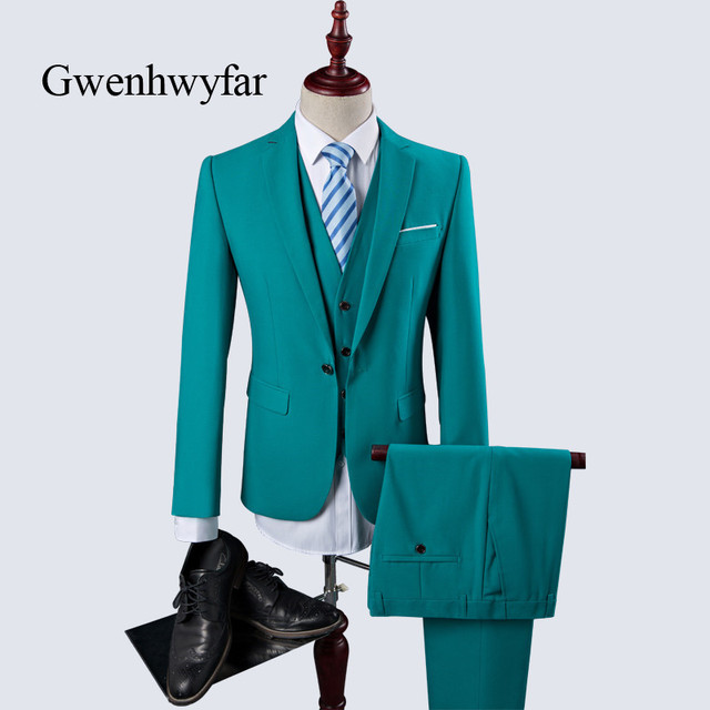 Trajes de hombre Gwenhwyfar 2018 Slim Fit 3 unidades novio traje de boda  lago Azul Rojo a14e40f52ef