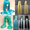 130cm VOCALOID Hastune Miku/Nichi Cosplay Wig With Clip On Two Long Straight Ponytails Full Lace Human Synthetic Wigs Synthetic