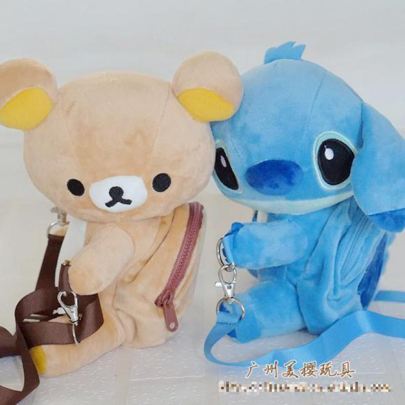 Cute Cartoon Stitch Rilakkuma Bear Plush Backpack Soft Stuffed Animals Doll Satchel Children School Bag Girls Kids Birthday Gift cute hamster plush backpack cartoon stuffed plush hamster toy girls school bag multifunction kids children toy birthday gift