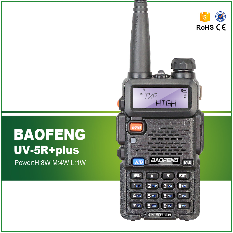 Gratis frakt Høy kvalitet 8W / 4W / 1W Baofeng Oppgradering Versjon UV-5R Plus Dual Band Baofeng FM Transceiver
