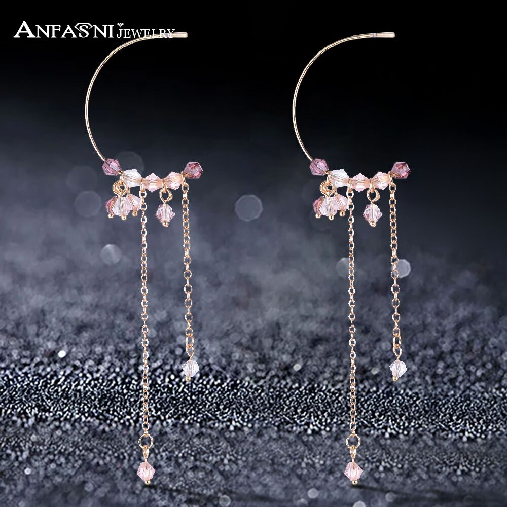 ANFANI New Korean Jewelry Crystal Beads Handmade Long Drop Earrings For Women Wedding&Engagement Jewelry Gifts S020182-A