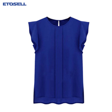 Summer Ruffled Short Sleeved Chiffon Blouse Women O-neck Pleated Sleeve Solid Colour chiffon Shirts Top Womens Blouses and Tops