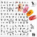1sheet Black Sexy Cat Design Manicure Foil Printing Wraps Water Transfer Stickers Nail Art Polish Decals DIY nail tools #BLE