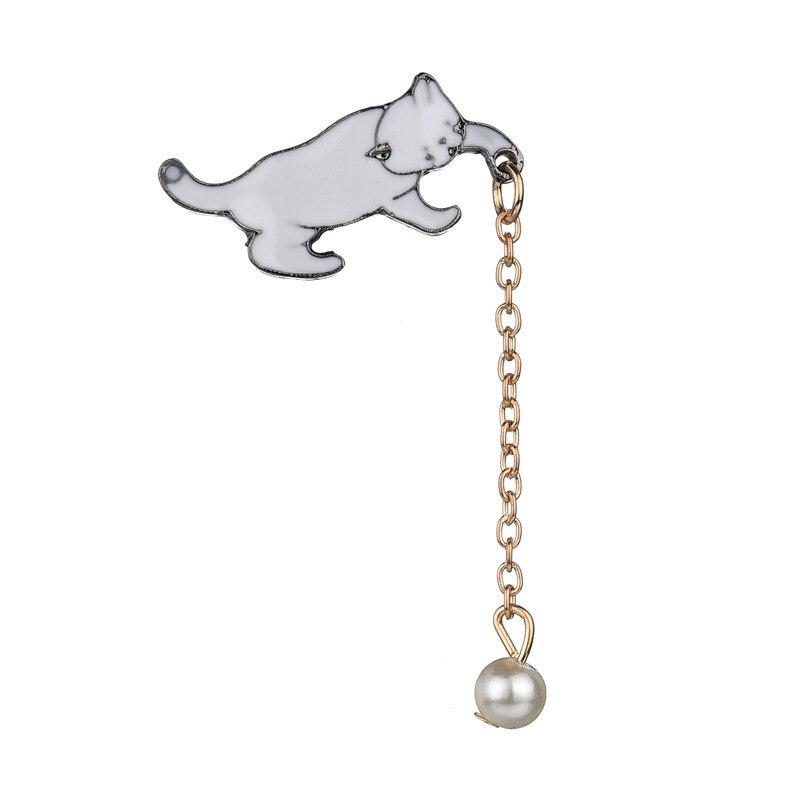 HOSEWYE Alloy Cute Little White Imitation Pearl Cat Brooch Pins Chic Fashion Jewelry Bijoux Brooch Wholesale Women Accessories